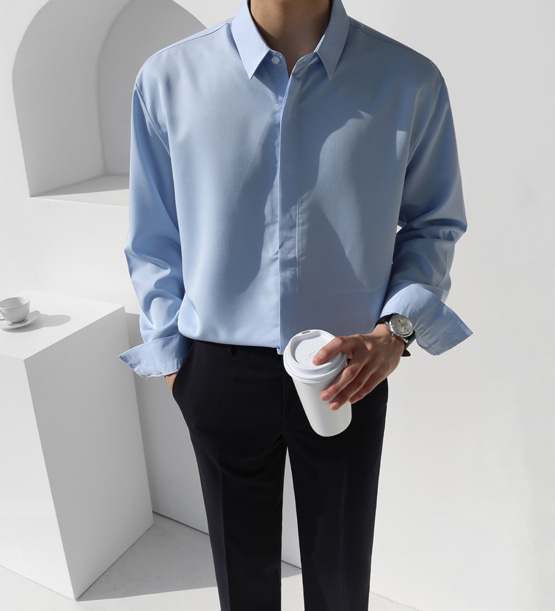 Modal hidden button shirt (5color)