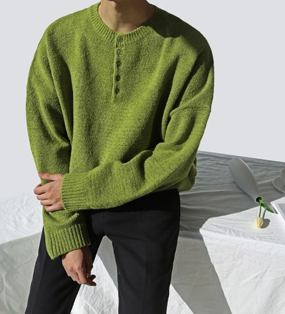 Wool Button Knit (5color) (wool 60%)