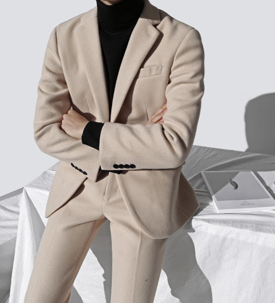 Cashmere oatmeal suit (1color) (wool 70%)