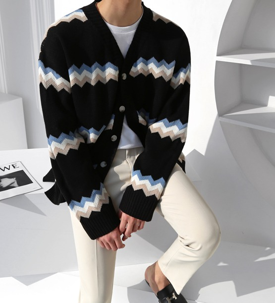 Zigzag overfit cardigan (3color)